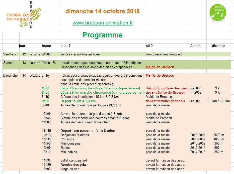 Cross des châtaignes 2018 Programme