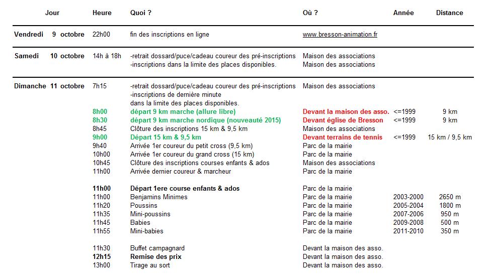 Cross des châtaignes 2015 Programme