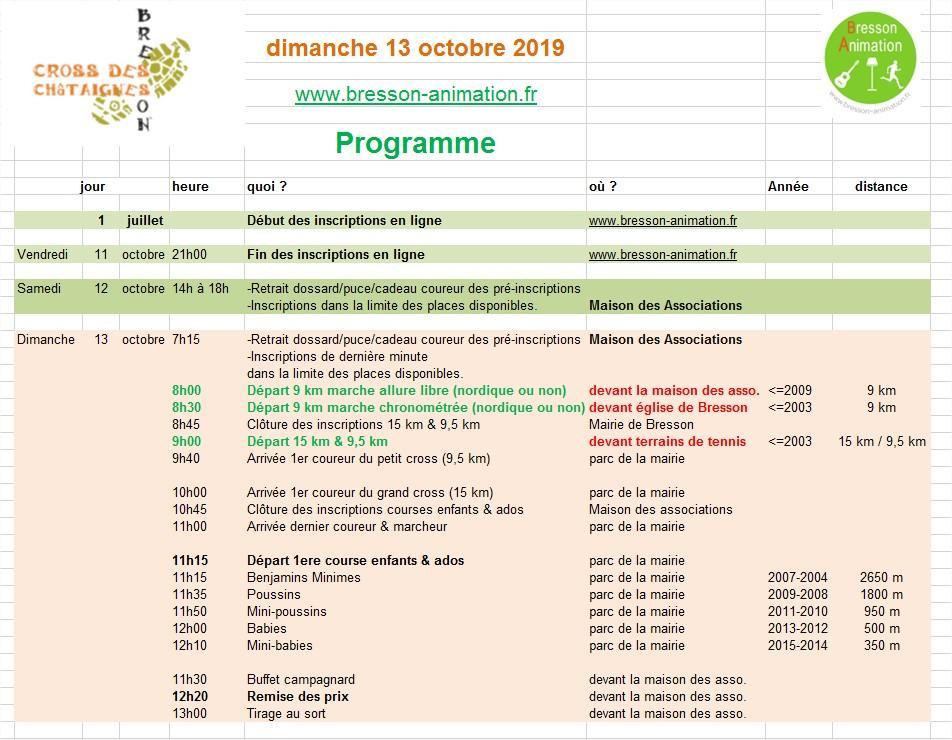 Cross des châtaignes 2019 Programme